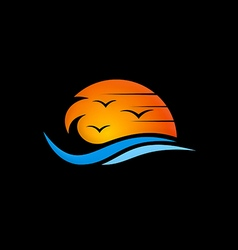 beach sunset abstract logo vector image