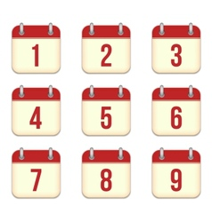 calendar app icons 1 to 9 days vector image