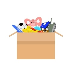 cardboard box full of different kids toys vector image
