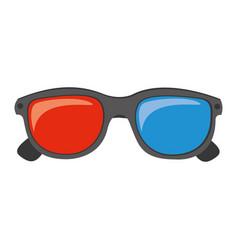 color 3d glasses cinema movie icon vector image vector image
