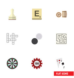 flat icon games set of lottery mahjong labyrinth vector image vector image