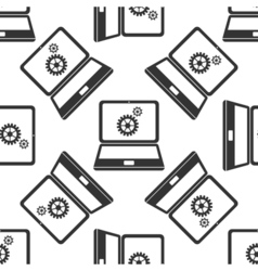 Laptop and gears icon seamless pattern on white vector image
