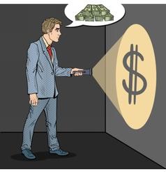 Pop Art Businessman with Flashlight vector image vector image