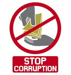 stop corruption sign vector image