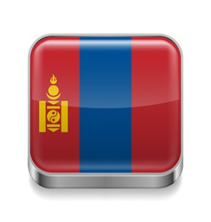 Metal icon of Mongolia vector image