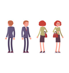 set of male and female office workers standing vector image