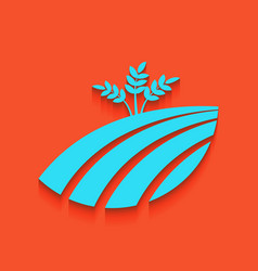 wheat field sign whitish icon on brick vector image vector image