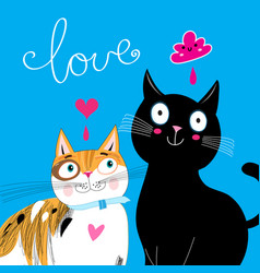bright postcard with love cats vector image vector image