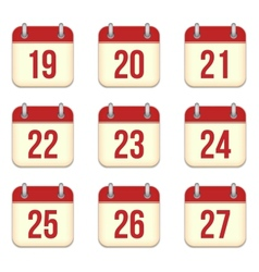 calendar app icons 19 to 27 days vector image vector image