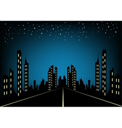 City at night landscape background vector image vector image