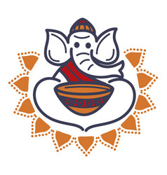 elephant in monac hat and robe with empty bowl vector image vector image