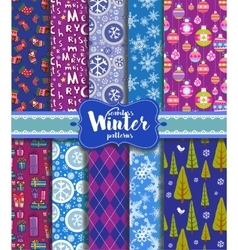Winter seamless backgrounds vector image