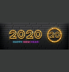 2020 happy new year light up lamp gold design vector image