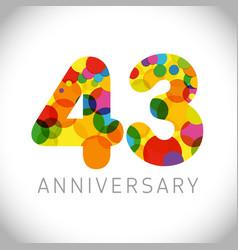43 years anniversary circle colorful logo vector