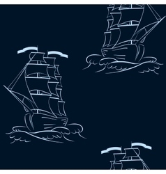A ship on the waves Seamless background vector image