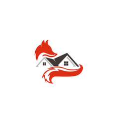 animal fox real estate home vector image