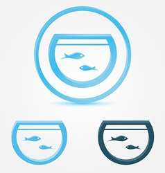 Aquarium fish tank icon with a fish vector