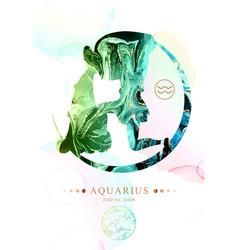 Aquarius zodiac sign with alcohol ink texture vector