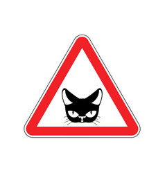attention cat danger red road sign pet caution vector image