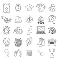 Autumn school icon set outline line thin style vector
