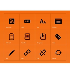 Blogger icons on orange background vector image