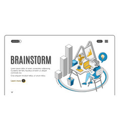 brainstorm man sitting at desk working on laptop vector image