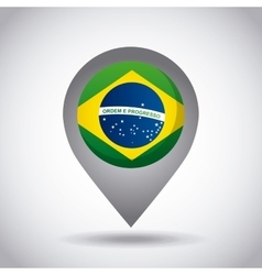 brazil flag pin vector image