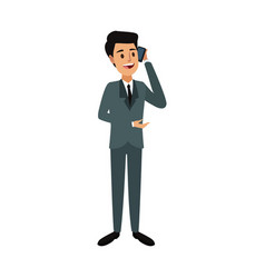 Businessman talking on her smartphone device vector