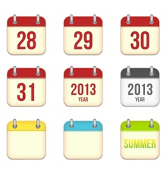 Calendar app icons 28 to 31 days and blank sheets vector
