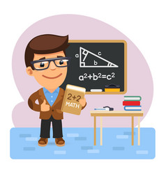 cartoon math teacher vector image