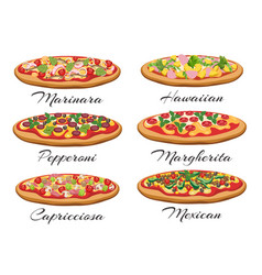 cartoon pizza set vector image