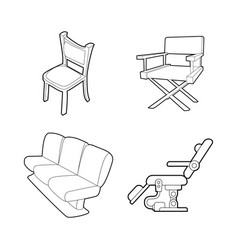 chair icon set outline style vector image