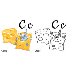 cheese alphabet letter c coloring page vector image