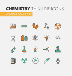 chemistry linear thin line icons set with dna vector image