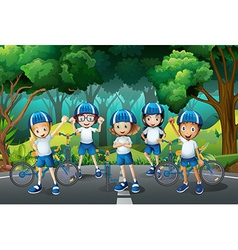 Children wearing helmet when riding bike vector