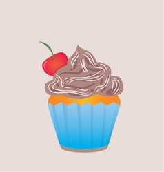 Chocolate cupcake in blue cup vector