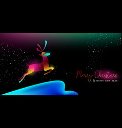 Christmas and new year glow gradient deer card vector