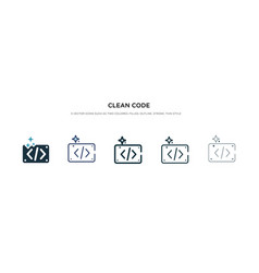 clean code icon in different style two colored vector image