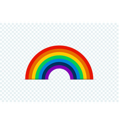 color rainbow with shadow on transparent vector image