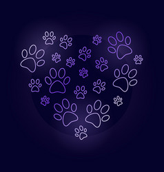 Colorful heart with dog prints outline vector