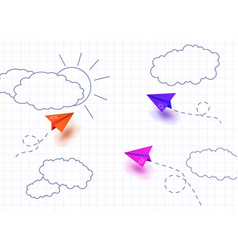 colorful paper planes on school notebook vector image