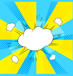 comic action bubble on blue and yellow background vector image