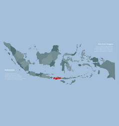 Country indonesia map province west nusa tenggara vector