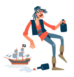 Crazy pirate got drunk rum and having fun in a vector