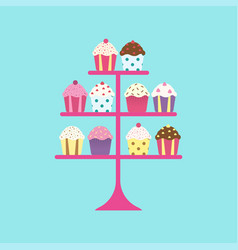 Cupcakes on stand vector