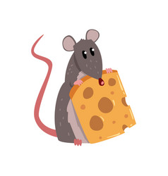 cute grey mouse holding piece cheese funny vector image