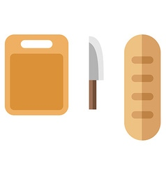 Cutting board bread and knife Cooking concept Flat vector