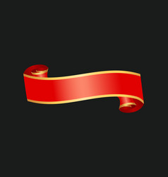 Decorative red ribbon banner isolated vector