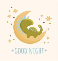 Dino baby moon cartoon hand drawn vector