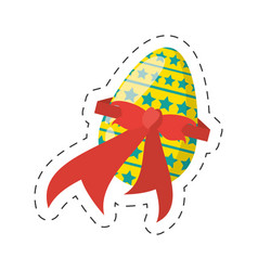 Easter egg stars ribbon - cut line vector